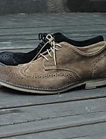 Шоколадный Со стразами-Для мужчин-Для офиса-Кожа-На шпильке-Light Up обувь-Ботинки