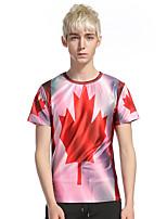 Tee-shirt Homme,Géométrique Décontracté / Quotidien Soirée Chic de Rue Manches Courtes Col Arrondi Polyester