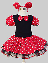 Girl's Beach Polka Dot Dress,Polyester Summer Short Sleeve