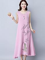 Для женщин На выход На каждый день Пляж Уличный стиль Шинуазери (китайский стиль) Свободный силуэт Платье С принтом,Круглый вырезСредней