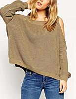 Normal Pullover Femme Habillées TravailCouleur Pleine Col Arrondi Manches Longues Coton Spandex Toutes les Saisons Moyen Micro-élastique