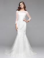 LAN TING BRIDE 트럼펫 / 머메이드 웨딩 드레스 어깨 노출 스타일 바닥 길이 보트넥 레이스 튤 와 레이스