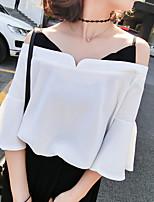 2017 весной и летом женщины поддельные две новые стропа лотоса рукав шифона без бретелек с короткими рукавами рубашки воротник мыс