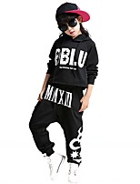 Jazz Outfits Kid's For Boys For Girls Children's Performance Cotton Pattern/Print Splicing 2 Pieces Long Sleeve High Top Pants Black Dance Costume