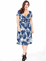 Women's Plus Size Boho Swing Dress,Print Deep V Knee-length Short Sleeve Polyester Summer Fall Mid Rise Micro-elastic Medium