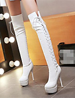 Damen-Stiefel-Lässig-PU-Stöckelabsatz-Komfort-