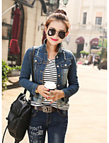 Women's Casual/Daily Simple Spring Denim Jacket,Letter Stand Long Sleeve Short Cotton