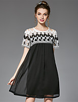 Women's Plus Size Casual/Daily Party Sexy Vintage Simple A Line Loose Black and White Dress Color Block Patchwork Embroidered Lace