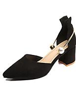 Mujer-Tacón Robusto-Confort-Tacones-Oficina y Trabajo Vestido-Semicuero-Negro Marrón