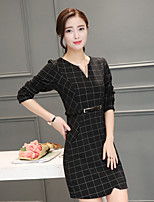 Sign 2017 spring retro package hip long-sleeved long section bottoming skirt fashion Slim plaid dress