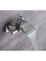 Contemporary Centerset Waterfall with  Ceramic Valve Single Handle Two Holes for  Chrome , Bathtub Faucet