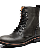 Men's Boots Spring Summer Fall Winter Comfort Leather Office & Career Casual Low Heel Black Brown Red