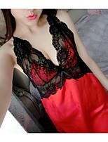 Lingerie en Dentelle Vêtement de nuit Femme,Imprimé Couleur Pleine-Moyen Polyester Aux femmes