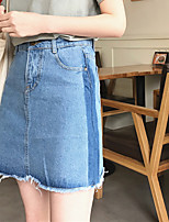 Women's Mid Rise Going out Casual/Daily Work Above Knee Skirts,Vintage Cute Street chic A Line Denim Solid All Seasons