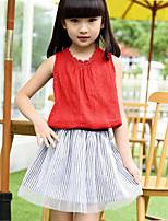Girls' Casual/Daily Striped Patchwork Sets,Cotton Polyester Summer Sleeveless Clothing Set