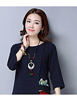 Women's Casual/Daily Simple Blouse,Solid Print Round Neck ¾ Sleeve Linen Thin