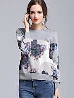 Women's Casual/Daily Simple Regular Pullover,Print Round Neck Long Sleeve Cotton Fall Medium Inelastic