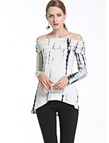 Women's Going out Casual/Daily Sexy Simple Spring Summer T-shirt,Print Boat Neck Long Sleeve Acrylic Opaque