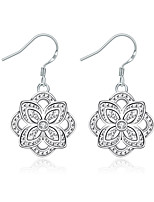 Concise Silver Plated Clear Crystal Hollow Flower Drop Earrings for Wedding Party Women Jewelry Accessiories