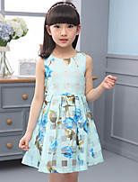 Girl's Beach Print Dress,Cotton Rayon Sleeveless