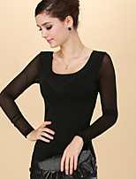 Women's Casual/Daily Sexy T-shirt,Solid Round Neck Long Sleeve Nylon