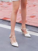 Sandály-Kůže-S páskem-Dámské-Bílá-Outdoor Šaty Běžné-Nízký podpatek