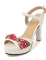 Sandals Spring Summer Fall Slingback PU Office & Career Party & Evening Dress Chunky Heel Buckle Black Blue Pink White