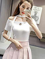 Women's Casual/Daily Cute Spring Summer T-shirt,Solid Round Neck Short Sleeve Spandex Medium