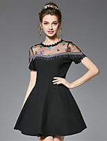 Women's Plus Size Party Club Sexy Vintage A Line Dress See-through Patchwork Embroidered Bead