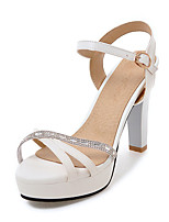 Sandals Spring Summer Fall Club Shoes PU Office & Career Party & Evening Dress Chunky Heel Buckle Black Pink White Almond
