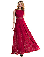 Fashion Wild Round Neck Sleeveless Sexy Slim Red Big Swing Long Skirt Party Cocktail Party Holiday Leisure Dress