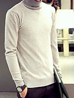 Herren Standard Pullover-Lässig/Alltäglich Einfach Solide Rollkragen Langarm Kunstseide Frühling Mittel Mikro-elastisch