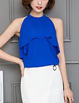 Для женщин Офис Лето Блуза С открытыми плечами,Секси Однотонный Без рукавов,Полиэстер,Тонкая