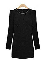 Для женщин На каждый день Простое Облегающий силуэт Платье Однотонный,Круглый вырез Мини Длинный рукав Полиэстер ОсеньСо стандартной