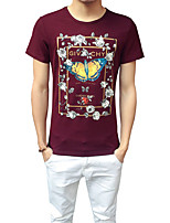 Men's Plus Size Casual/Daily Beach Simple Street chic Active Summer T-shirt,Solid Floral Patchwork Round Neck Short Sleeve Cotton Spandex