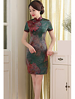 Women's Plus Size Going out Bodycon Sheath Dress,Print Stand Above Knee Short Sleeve Rayon Polyester Spring Summer Mid Rise InelasticThin