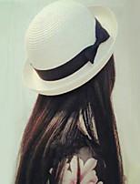 Women's Fashion Straw Hat Sun Hat Bucket Hat/Cap Cute Casual Solid Bowknot Beach Summer Beige/Brown/White/Fuchsia