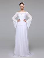 LAN TING BRIDE Trapèze Robe de mariée Tout Simplement Superbe Transparent Longueur Sol Bateau Dentelle avec Ceinture / Ruban