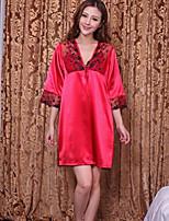 Satin & Soie Vêtement de nuit Femme Couleur Pleine-Mince Viscose Aux femmes