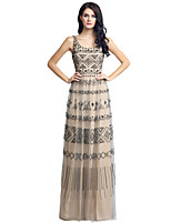 Formal vestido de noite bainha / coluna festoneado de comprimento de tule com beading