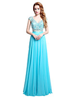 Formal Evening Dress Sheath / Column V-neck Floor-length Chiffon with Beading