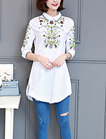 Women's Going out Beach Holiday Vintage Street chic Sophisticated Spring Summer Shirt,Embroidered Shirt Collar ¾ Sleeve Others Medium
