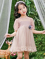 Girl's Solid Dress,Polyester Summer Short Sleeve
