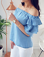 Women's Going out Casual/Daily Holiday Sexy Simple Street chic Spring Summer T-shirt,Solid Boat Neck Short Sleeve Polyester Medium