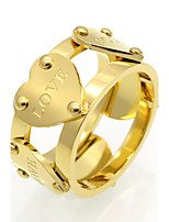 Love Heart Shape 11mm Width Stainless Steel Rings For Women18K Gold Plated Fashion Jewelry