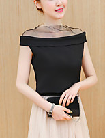 Women's Slim Elegant Work Cute Street chic Summer Mesh T-shirt Solid Off Shoulder Sleeveless Cotton Thin