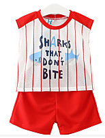 Girl Casual/Daily Print Sets,Cotton Summer Sleeveless Clothing Set