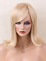 Mid Length Strawberry Blonde Human Hair Wig Straight Capless Cap Wig For Young Women Heat Resistant 2017