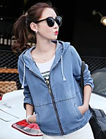 Women's Casual/Daily Simple Spring Denim Jacket,Solid Hooded Long Sleeve Short Cotton