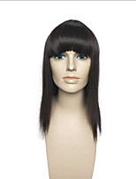 Long Straight Black Synthetic Wig Capless With Neat Bangs Women Party Wig Hairstyle